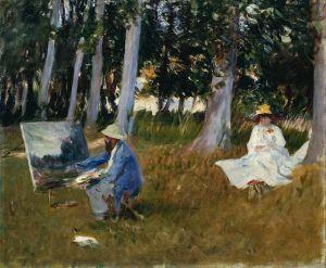 John Singer Sargent, Claude Monet maalaa metsänreunassa, 1885.